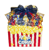 Movie Snacks Gift Basket with assorted popcorn, candy and snacks by Thoughtful Expressions Gift Baskets Canada