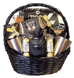 Dark Roast Coffee and Gourmet Snacks Gift Basket Canada