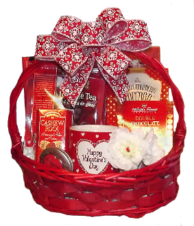valentine's day gift basket with snacks and chocolate