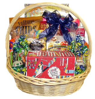 Family Game Night Gift Basket with Games and Snacks for the whole family.