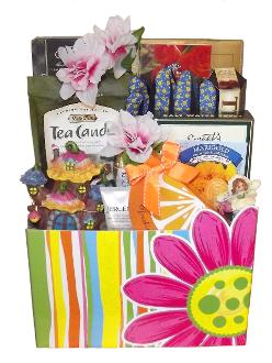 Mini World Fairy Garden Gift Basket with garden decorations and gourmet snacks and drinks.