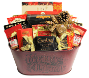 Christmas Gift Basket with Gourmet Snacks and Drinks Canada