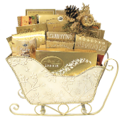 deluxe large sleigh christmas gift basket with assorted gourmet snacks