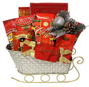 Sleigh Ride Christmas Gourmet Gift Basket available at Thoughtful Expressions Gift Baskets Canada.