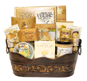 Sensations Gourmet Gift Basket with Dips, Snacks, Chocolate and Drink mixes.