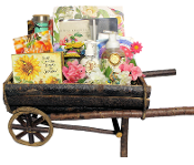 Wheelbarrow planter deluxe gardening gift basket.