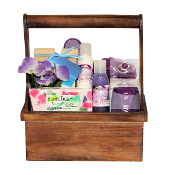Beanstock Rice Flower Bath Gift Basket with bath accessories and caddy. Gift Baskets Canada