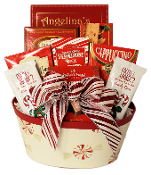Peppermint Swirl Gourmet Christmas Gift Basket with assorted snacks and peppermint treats