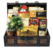 Gourmet Treasure Chest Gift Basket by Thoughtful Expressions in Fort St. John, BC. Contains a large assortment of gourmet snacks and drink mixes. Canada wide shipping is available.
