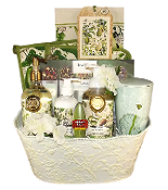 Gift Basket - Kitchen Themed with Avocado Accessories and Tea Forte Items.
