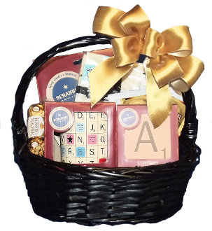 Scrabble Themed Gift Basket with Mug, Kitchen Towel, Fridge Magnets and Scrabble Tile Coasters.