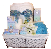Beach Bath Gift Basket with Michel Designs Luxury Bath Products and assorted bath accessories.