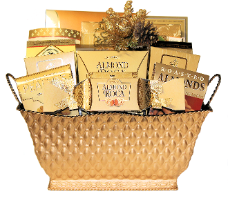 gourmet gift basket in all gold for corporate or personal gift giving