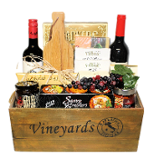 Wine and Cheese Wooden Crate Deluxe Gift Basket