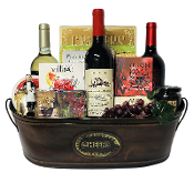 Wine Lover Gift Basket with Wine Accessories Gift Set and Wine Themed Cutting Board.