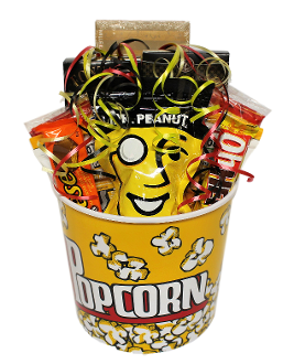 Popcorn Tub Snacks Gift Basket with assorted sweet and salty snacks.