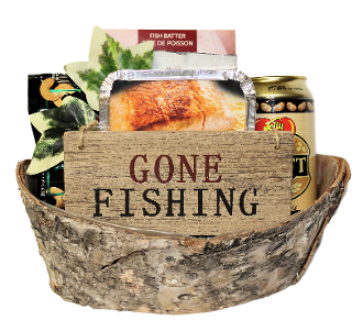 Fishing themed gift basket with Canada wide shipping.
