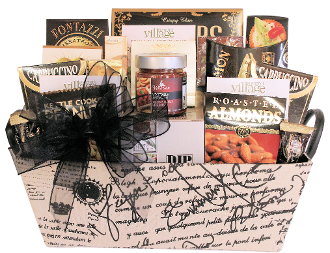 Entertainer Gift Basket with dip chiller, dips, crackers and assorted snacks and drink mixes. Designed by Thoughtful Expressions Gift Baskets Canada.