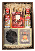 Barbeque spices, sauces and accessories in a wooden crate by Thoughtful Expressions Gift Baskets.