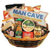 Man Cave Snacks Gift Basket with assorted snacks.