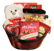 Be My Valentine Gift Basket with teddy bear, gourmet treats and hot chocolate.