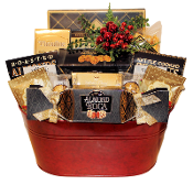 Christmas Gift Basket with gourmet snacks and drink mixes with Canada wide shipping.