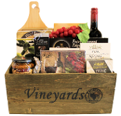 Vineyards Crate Wine and Cheese Gift Basket Canada